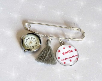 Brooch watch nurse/midwife/nurse gift, with tassel and cabochon name