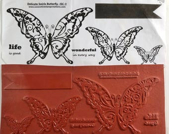 Stamps -Delicate Swirls Buttfly by ISC #231