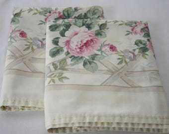 BEAUTIFUL ROSES Vintage Pillowcases, Shabby Chic, cottage charm, bedding, pillow covers set, 2, pair, vintage bedding, standard queen size