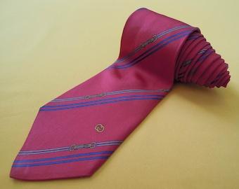 Gucci Tie Pure Silk Horsebit Stripe Pattern Red Vintage Designer Dress Necktie Made In Italy
