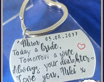 Today A Bride Keyring - Personalised Wedding Keyring W/ Date & Name - Father Of The Bride Keyring - Mother Of Bride Keyring - Wedding Gift