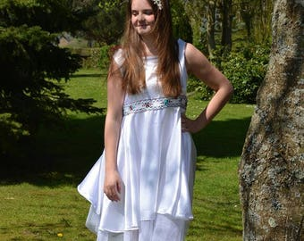White satin embroidered belted dress