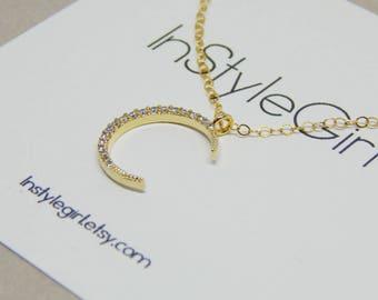 Gold moon necklace CZ Moon necklace Crescent moon necklace Gold necklace Delicate necklace Diamond moon necklace Moon necklace