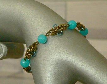 Blue Jade Chainmail Bracelet, Jade Bracelet, Chain Mail Bracelet, Chainmaille Bracelet, Chainmail Jewellery, Chainmail Jewelry