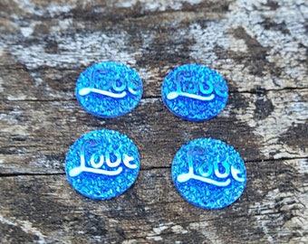 12mm Medium Blue Resin Love Cabochon