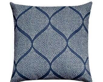 SALE Navy White Geometric Pillow Cover, Indigo Blue Moroccan Tile Throw Pillow, Navy Pillow, Ogee Pillow Cushion Cover, Dark Blue Throw Pill