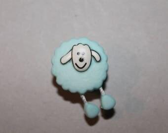 fancy blue sheep animal button