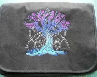 Celtic Tree Bag. Messenger Bag. Embroidered design cotton canvas Tree of Life Yggdrasil