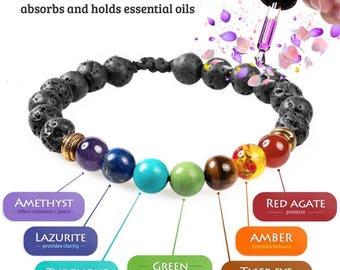 Lava Stone Chakra Reiki Crystal Oil Diffuser Bracelet Aromatherapy