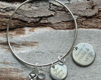 Roots and Wings Wire Adjustable Bangle Bracelet
