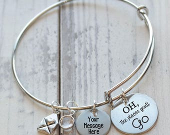 Oh the places you'll go Personalized Wire Adjustable Bangle Bracelet