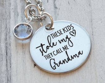 These Kids Stole My Heart They Call Me Grandma Personalized Engraved Necklace