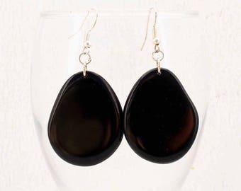 Large Black Earrings - Tagua Earrings - Natural Earrings - Statement Earrings - Chunky Earrings - Womens Gift Ideas 3350