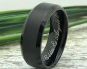 8mm Black Tungsten Ring, Custom Engraved Ring, Personalized Ring, Roman Numeral Ring, Coordinates Ring, Wedding Date Ring, Family Name Ring