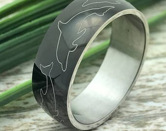 8mm Personalized Stainless Steel Wedding Ring, Black Plated Wedding Ring, Men's Wedding Band, Men's Wedding Ring, Coordinates Ring