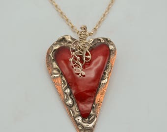 Heart Strings II Enamel and Copper Pendant with Sterling Silver Chain
