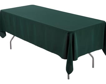 60 x 126 inch Rectangular Hunter Green Tablecloth Polyester | Wedding Tablecloth