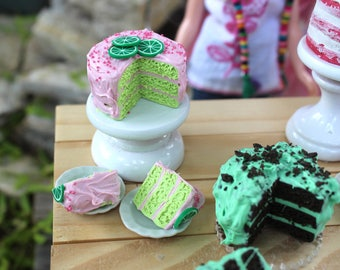 Strawberry Limeade 3 Layer Cake with 2 Cut Slices on Little Ceramic Plates for Blythe Barbie Playscale