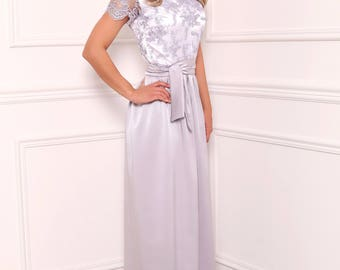 Silver  Ball Gown Wedding Maxi Dress V Neckline Mini Sleeves