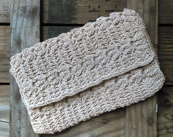 Mid Century ADORIA JAPAN Lovely Crochet Woven Clutch Handbag
