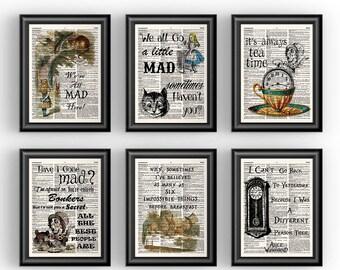 Alice in Wonderland Wall Art, Childrens Book Art, Alice in Wonderland Nursery Wall Art, Book Quotes Print