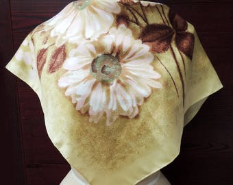 Vintage St.Michael Rayon Rain Scarf: Hip Retro Fashion Headscarf. Sketchy Floral in Gold, White, Rust. Birthday, Valentine Gift. 27 in SC175