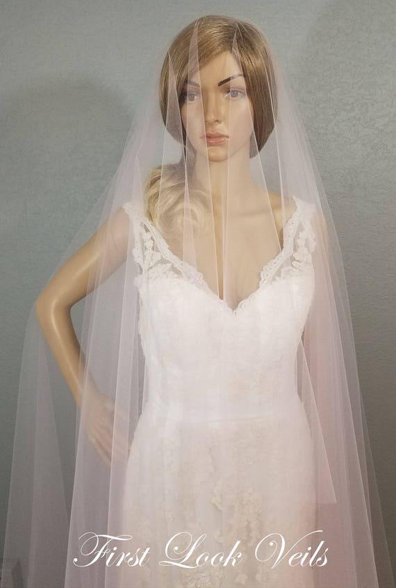 Pink Wedding Veil, Blush Bridal Veil, Cathedral Drop Veil, Ivory Bridal Veil, Bridal Accessories, Powder Pink Vail, Viel, Princess Wedding