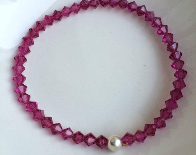Pink Swarovski stretch bracelet Sterling Silver pink bead bracelet, Fushia pink Swarovski crystal bracelet bridesmaid Swarovski jewelry gift