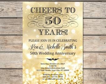 Golden Wedding Anniversary Invitation, Gold Bokeh 50th Anniversary Invitation, Gold Glitter Effect Anniversary Invite, DIGITAL OR PRINTED