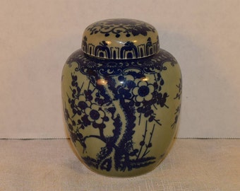 Blue & White Ginger Jar Vintage Blue Transferware Cherry Blossom Chinoiserie Tea Jar Asian Oriental Decor Blue and White Collectible