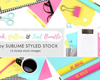 Styled stock photography / bundle / 12 Styled Images / Stock Photos / Instagram / Social Media Images / Bright colors / Pink, Yellow, Teal