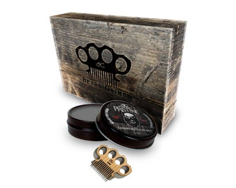 Mustache Wax Gift Box Kit W/ Mini Comb & Choose Of Wax Color! No Haze Formula | Firm Or Medium Hold