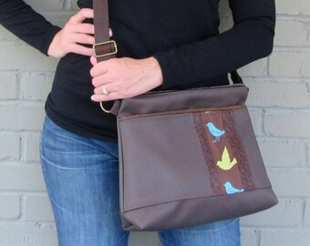 Large Vegan Leather Crossbody Bag - Crossbody Messenger Bag - Modern Bird Purse