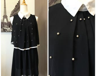 80s Retro Vintage Black Collared Party Dress