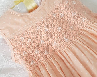 Beautiful Peach Corduroy Hand Smocked and Embroidered baby dress - size 1 and 2