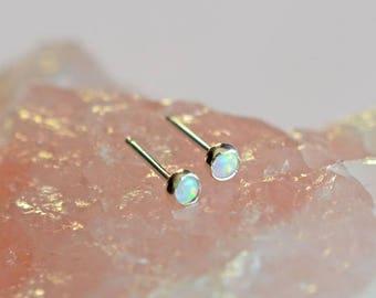 Tiny opal studs, cartilage studs, opal stud earrings, tiny stud earrings, silver stud earrings, dainty studs, minimalist stud earrings