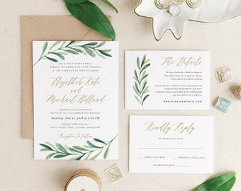 Greenery Wedding Invitation Template • Printable Wedding Invitation • Botanical Calligraphy • Word or Pages • MAC or PC