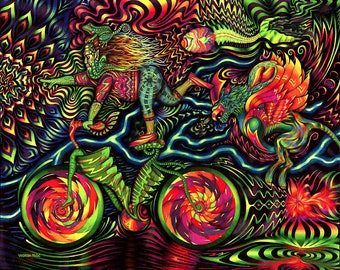 Bicycle Ride Tapestry by Vedran Misic - 51x64 inches - Wall Art - Wall Decor - Trippy - Psychedelic