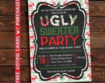 Ugly sweater invitation, Ugly Sweater Invite, Ugly sweater party invite, sweater invite