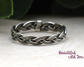 3mm Braided Ring, Braided Wire Promise Ring Womens, Braided Rope Ring, Oxidized Sterling Silver Stacking Stackable Rings, Twist Braided Ring