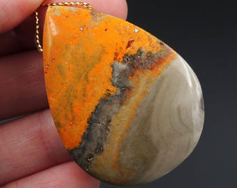 Natural Bumble Bee Jasper Pendant Teardrop Side Drilled Pendant P1095