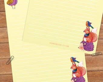Owl & friends - DOWNLOAD file - Printable Writing paper - A5 size