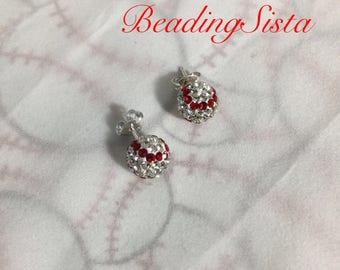 Baseball - 8mm Swarovski Ball Earrings - 925 Sterling Silver Post