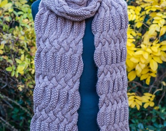 Extra long cable-knit scarf, wool winter scarf, beige oblong scarf, cozy & warm wool knitted oversized scarf, hand-knitted beige scarf
