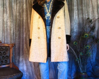 70s Wool and Faux Shearling Tweed Coat, Vintage 1970s Davis of Boston Coat, Brown Vintage Winter Coat