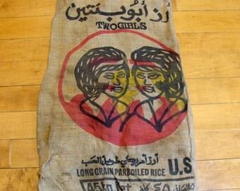 Vintage feedsack-old burlap bag-vintage feed bag-two girls feed sack-rice food burlap bag-primitive kitchen-sisters bag-gay lesbian interest
