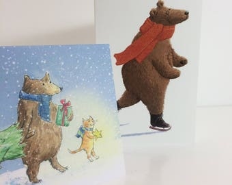 Bear Christmas Cards Pack of 4