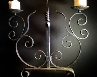 Large Vintage Candlestick Wrought Iron Candle Holder / Candelabra - Gothic Medieval Black 2 Arm  / Wrought Iron Decor / Home Decor /  02985