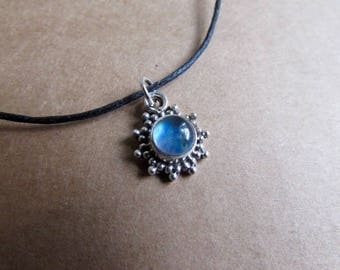 Moonstone Gemstone Pendant Dainty Choker Handmade, Simple Jewellery Gift Bag, Free UK Delivery