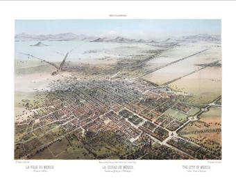 """Mexico City 1869 Panoramic Bird's Eye View Map by C. Castro 22x17"""" Reproduction"""